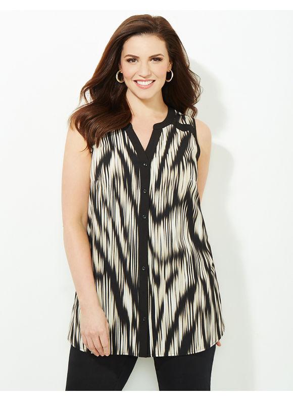 Catherines Plus Size Modern Mix Blouse, Women's, Size: 2X,3X, Dark Khaki