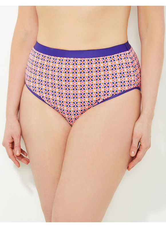 Catherines Intimates Plus Size Electric Mosaic Cotton Hi-Cut Brief, Women's, Size: 9,10,12,14,15, Purple - Catherines ~ Classic Plus Size Clothes