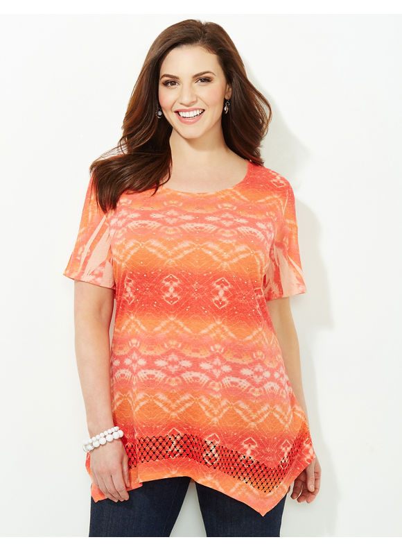 Catherines Plus Size Pattern Twirl Top -  red