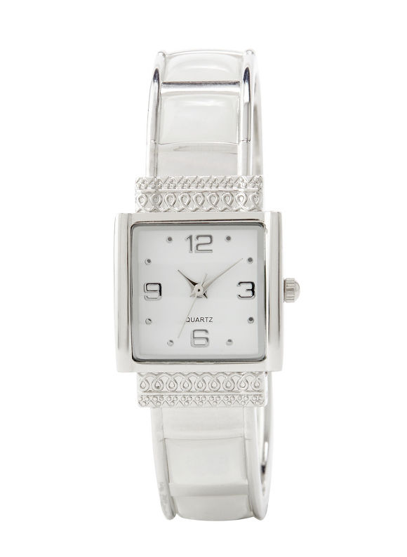 Catherines Divine Shine Cuff Watch, Women's, White - Catherines ~ Classic Plus Size Clothes