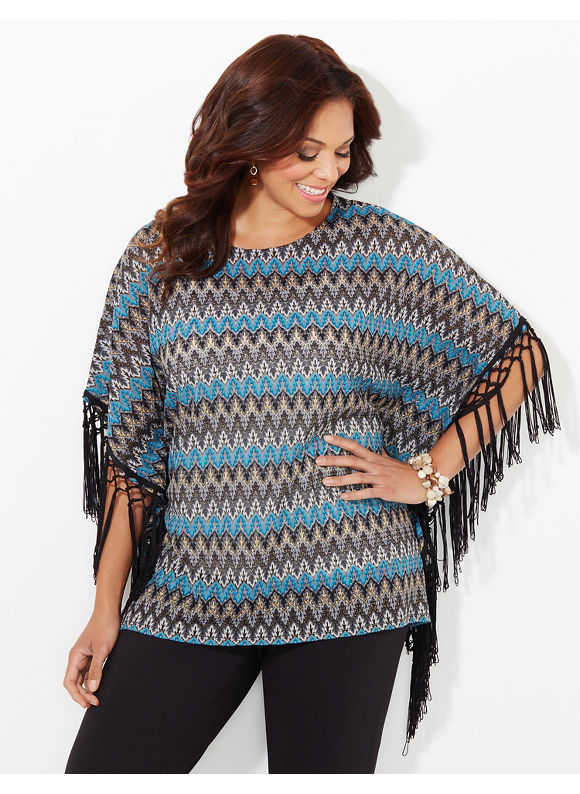 Catherines Plus Size AnyWear Evening Air Poncho, - Women's Size 0X-1X,2X/3X, Jet Teal