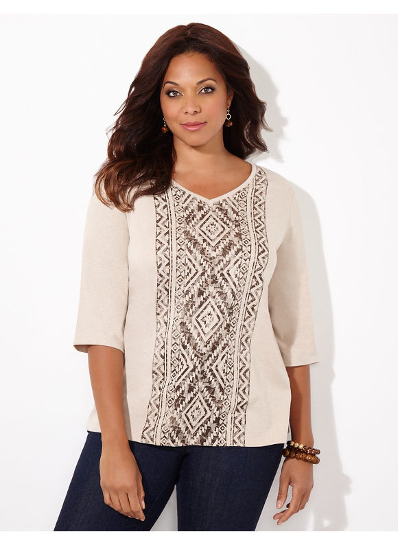 Catherines Plus Size Tribal Tide Top, Oatmeal Heather