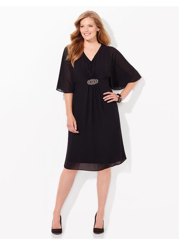 Plus Size Figure Flow Dress Catherines Womens Size 1X2X3X0X black $109.00 AT vintagedancer.com
