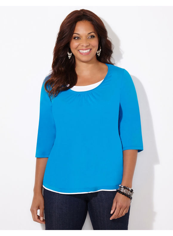 Suprema Essentials by Catherines Plus Size Suprema Layered-Look Scoopneck, Women's, Size: 1X,2X,3X,0X, Black, Windsor Purple, Red, Methyl Blue - Catherines ~ Classic Plus Size Clothes