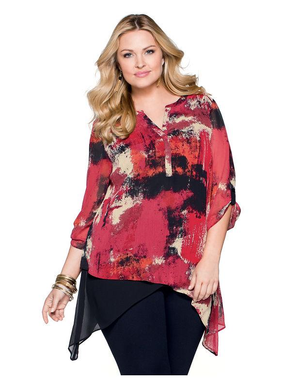 Catherines Plus Size Masterpiece Blouse, Women's, Size: 1X,2X,3X,0X, Dark Red - Catherines ~ Classic Plus Size Clothes