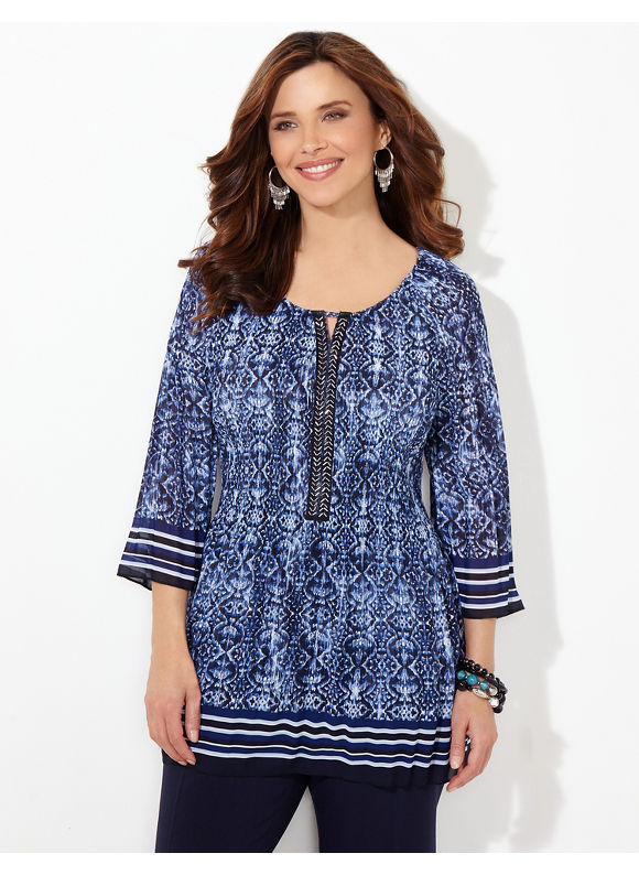 Catherines Plus Size Wavescape Pleated Blouse, Metal Blue