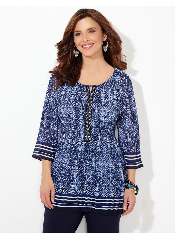 Catherines Plus Size Wavescape Pleated Blouse, Women's, Size: 1X,2X,3X,0X, Metal Blue