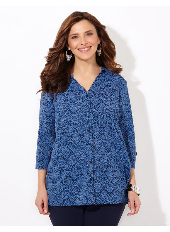 Catherines Plus Size Seascroll Blouse, Women's, Size: 0X, Metal Blue - Catherines ~ Classic Plus Size Clothes