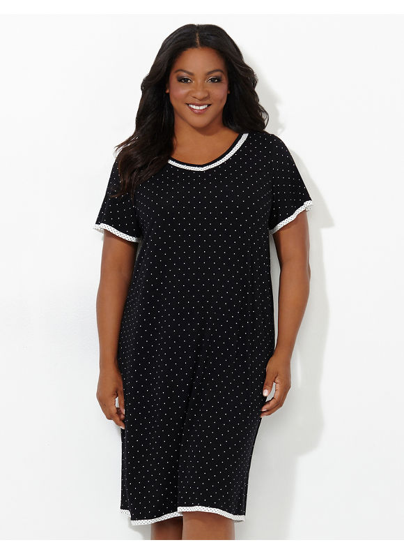 Catherines Intimates Plus Size Dot Delight Sleepshirt, Women's, Size: 2X, Black - Catherines ~ Classic Plus Size Clothes