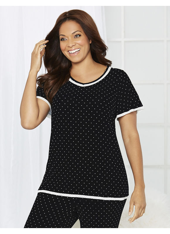 Catherines Intimates Plus Size Dot Delight Sleep Tee, Women's, Size: 1X,2X,3X,0X, Black - Catherines ~ Classic Plus Size Clothes