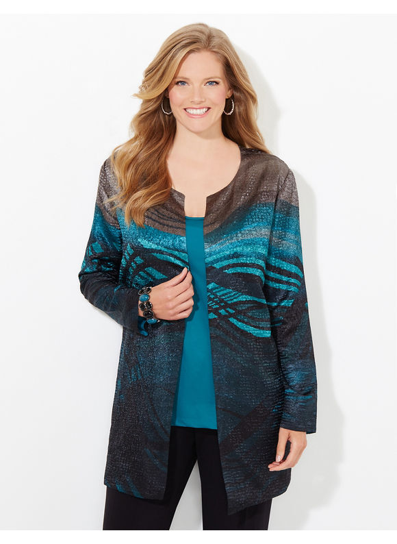 Catherines Plus Size Wavepool Reversible Jacket, Women's, Size: 1X,2X,3X,0X, Black Multi - Catherines ~ Classic Plus Size Clothes