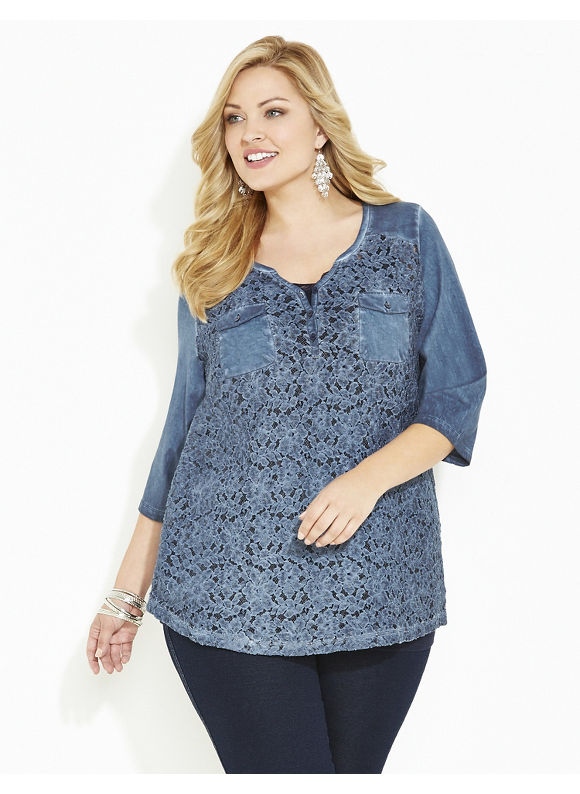 Catherines Plus Size Vineyard Lace Top, Women's, Size: 1X,2X,3X,0X, Forest Night, Cosmic Blue - Catherines ~ Classic Plus Size Clothes