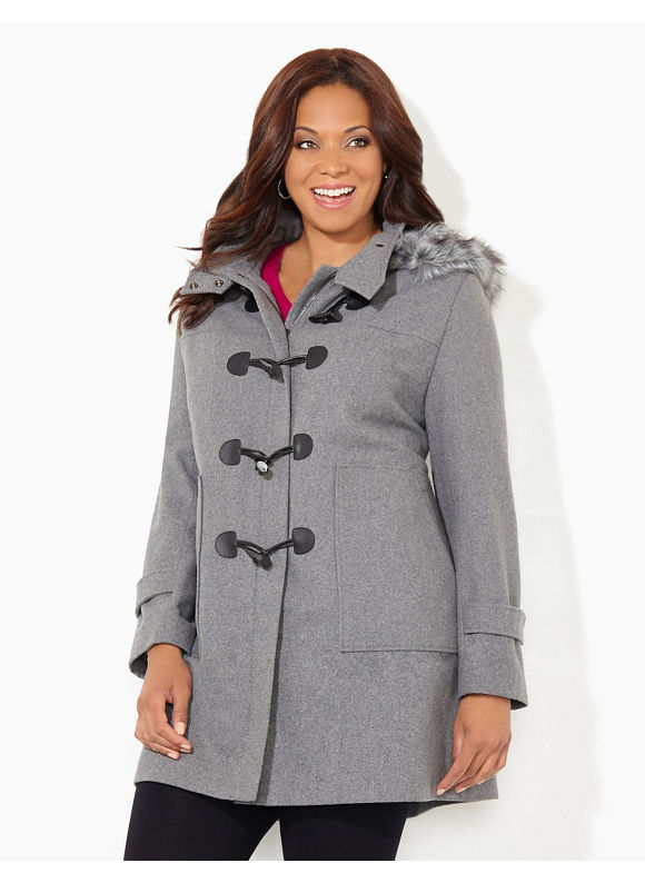 Catherines Plus Size Toggle & Trim Coat, Women's, Size: 1X,2X,3X,0X, Black, Grey Heather - Catherines ~ Classic Plus Size Clothes