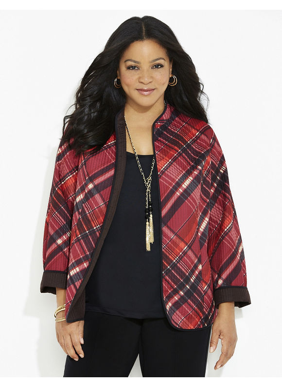 Catherines Plus Size Plaid Reversible Jacket, Women's, Size: 1X,2X,3X,0X, Dark Red - Catherines ~ Classic Plus Size Clothes