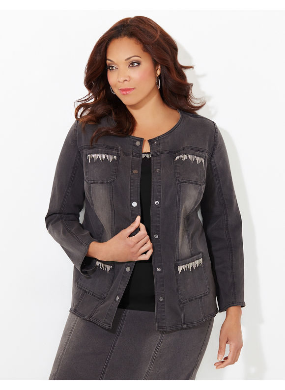 Black Label by Catherines Plus Size Denim Days Jacket, Women's, Size: 1X,2X,3X,0X, Dark Cinder - Catherines ~ Classic Plus Size Clothes