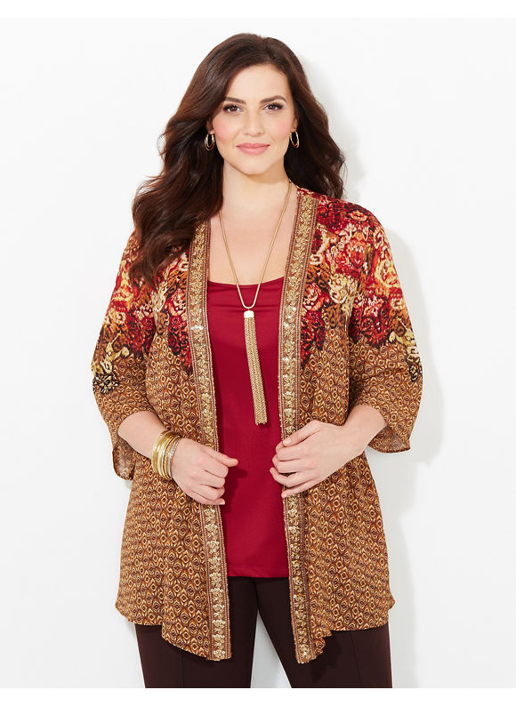 Catherines Plus Size Ornamental Ease Cascade, - Women's Size 2X,3X, Brown
