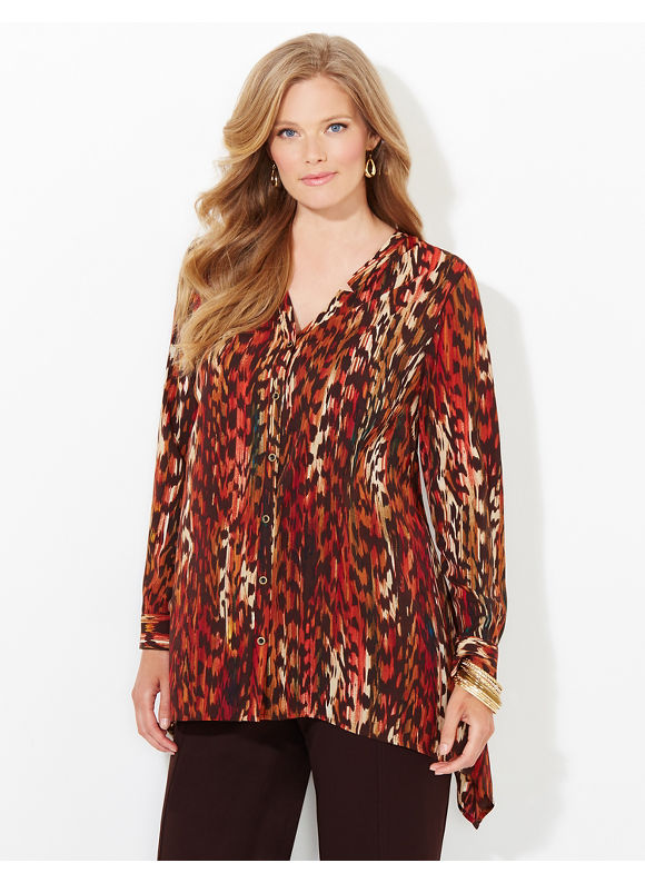 Catherines Plus Size Fall Canopy Blouse, Women's, Size: 1X,2X,3X,0X, Dark Red