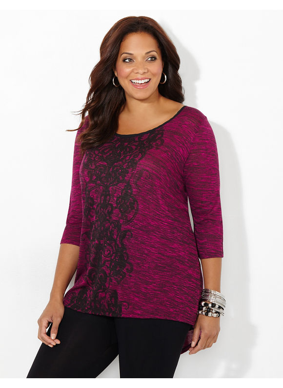 Catherines Plus Size Flyaway Scroll Top, Women's, Size: 1X,2X,3X,0X, Raspberry Glacier, Black, Red - Catherines ~ Classic Plus Size Clothes