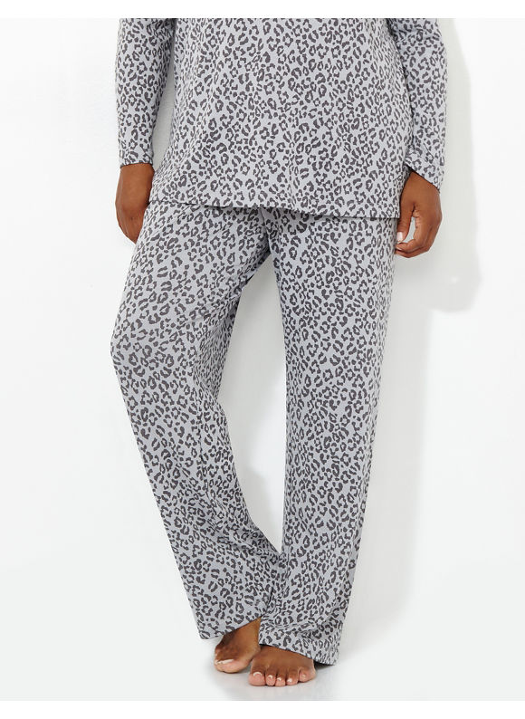 Catherines Intimates Plus Size Cozy Collection Leopard Lounge Pant, Women's, Size: 1X,2X,3X,0X, Grey Mist - Catherines ~ Classic Plus Size Clothes