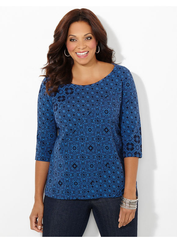 Catherines Plus Size Print Delight Tee, Women's, Size: 1X,2X,3X,0X, Black, Mariner Navy - Catherines ~ Classic Plus Size Clothes