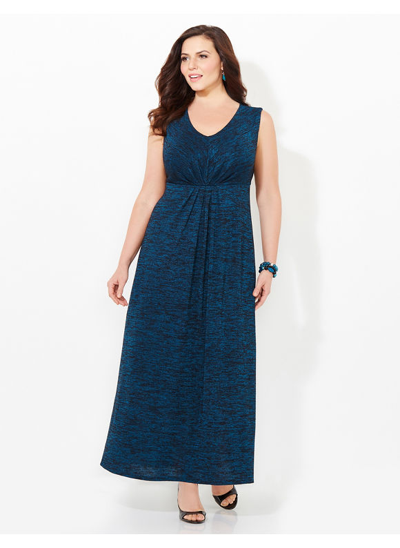 AnyWear by Catherines Plus Size AnyWear Callowhill Maxi Dress, Women's, Size: 1X,2X,3X,0X, Tempest Teal - Catherines ~ Classic Plus Size Clothes