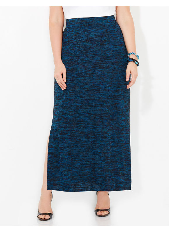 AnyWear by Catherines Plus Size AnyWear Callowhill Skirt, Women's, Size: 1X,2X,3X,0X, Black Multi - Catherines ~ Classic Plus Size Clothes