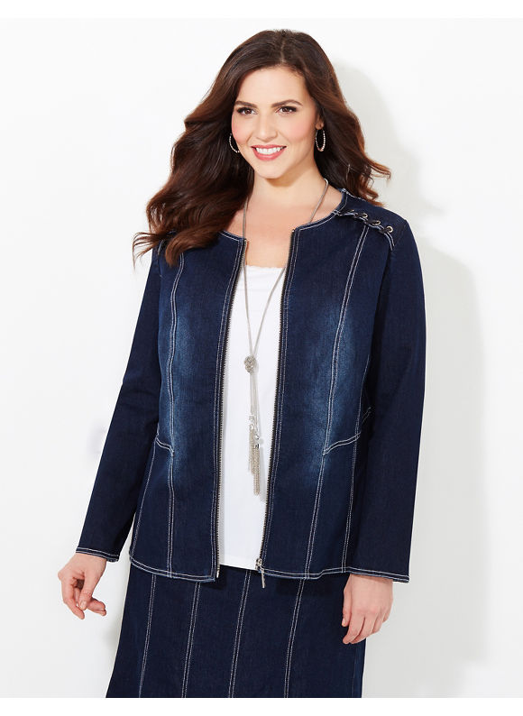 Black Label by Catherines Plus Size Streamline Denim (Blue) Jacket, Women's, Size: 1X,2X,3X,0X - Catherines ~ Classic Plus Size Clothes