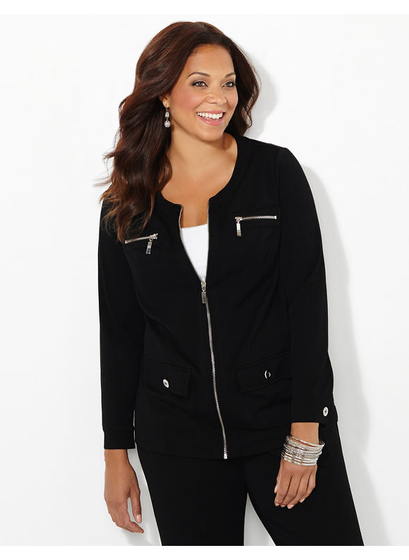 Black Label by Catherines Plus Size Lifestyle Jacket, Women's, Size: 1X,2X,3X,0X, Black - Catherines ~ Classic Plus Size Clothes