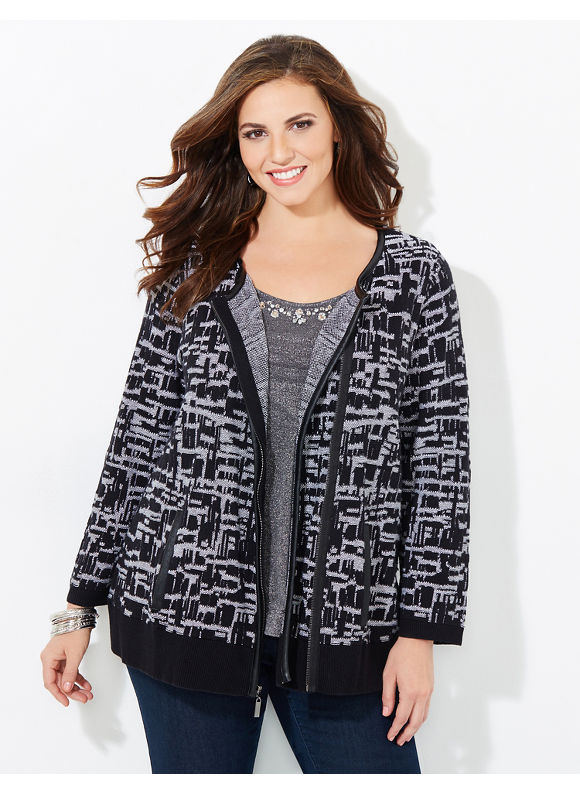 Black Label by Catherines Plus Size Colorblock Cardigan, Women's, Size: 1X,2X,3X,0X, Black - Catherines ~ Classic Plus Size Clothes