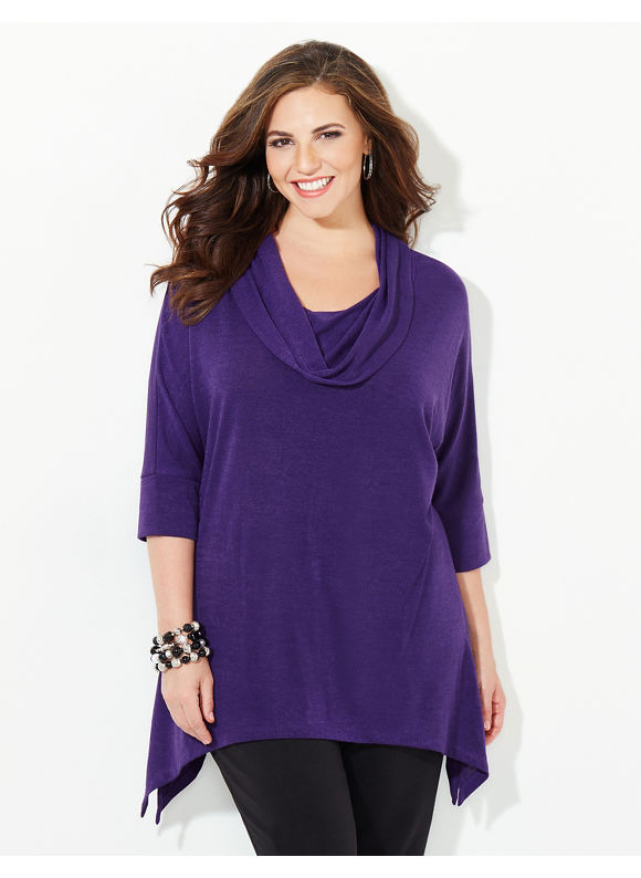 Catherines Plus Size The Ultimate Cowlneck, Women's, Size: 1X,2X,3X,0X, Raspberry, Lunar Purple