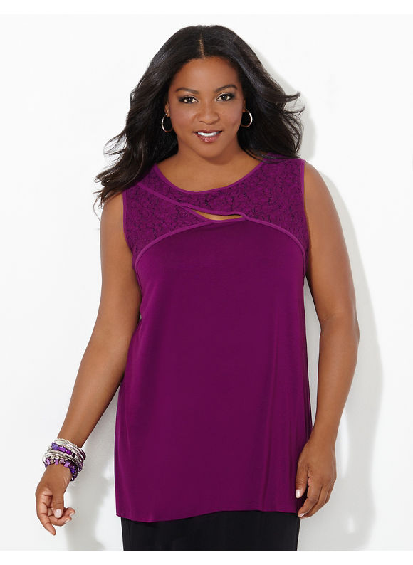 AnyWear by Catherines Plus Size AnyWear Keyhole Criss-Cross Tank, Women's, Size: 1X,2X,3X,0X, Dark Purple - Catherines ~ Classic Plus Size Clothes