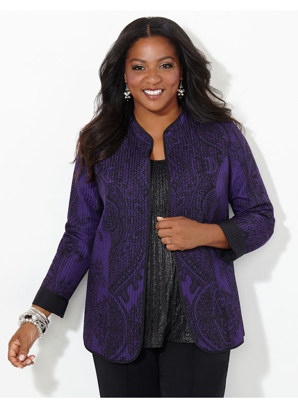 Catherines Plus Size Regal Scroll Reversible Jacket, Women's, Size: 1X,2X,3X,0X, Dusty Purple - Catherines ~ Classic Plus Size Clothes