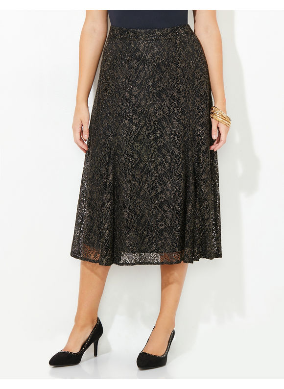 Black Label by Catherines Plus Size Starlight Swing Skirt, Multi