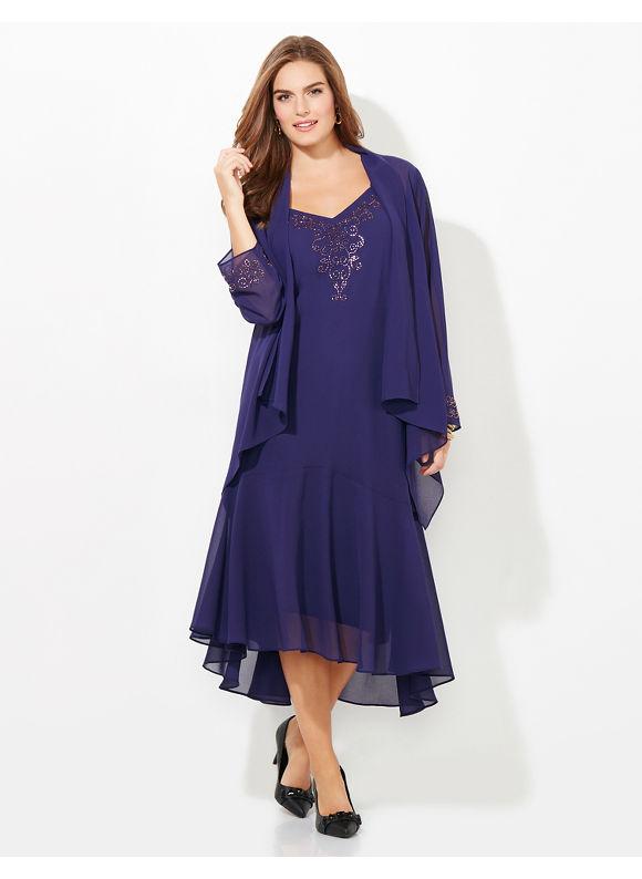 Catherines Plus Size Dusk To Dawn Jacket Dress Womens Size 222822W16W28W20W26W24W18W30W Black $179.00 AT vintagedancer.com