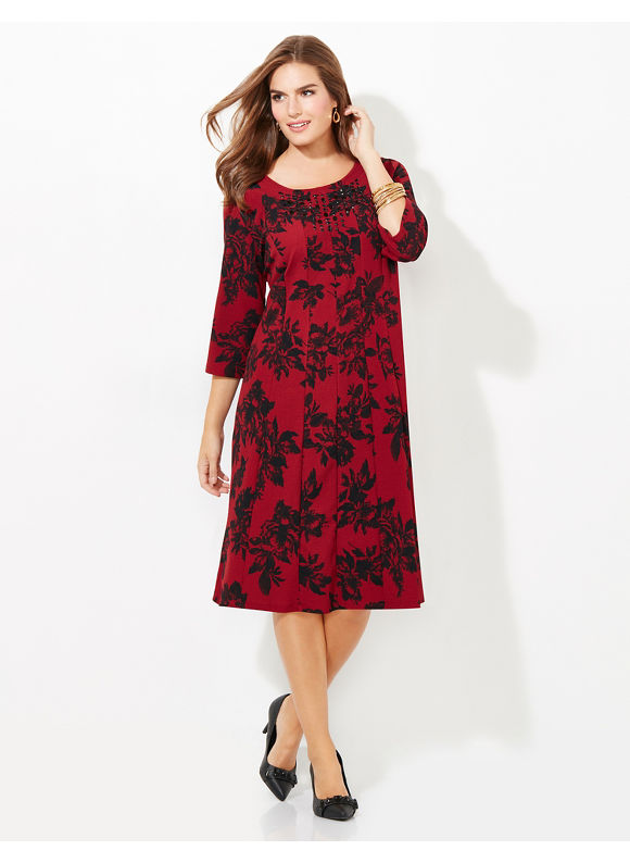 Catherines Plus Size Floral Fit & Flare Dress, Women's, Size: 0X,3X,2X,1X,4X, Red