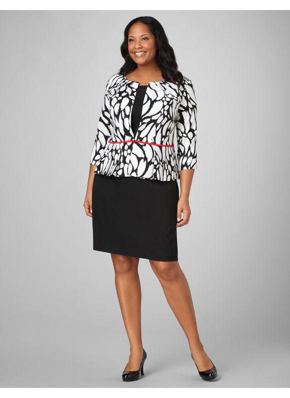Catherines Women's Plus Size/Black Red Line Jacket Dress - Size 24W
