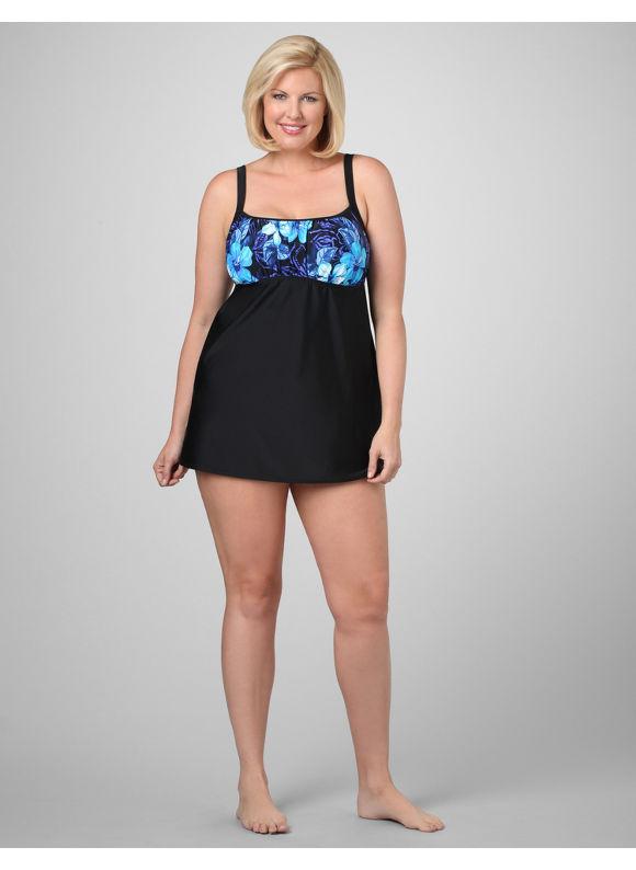 Catherines Women's Plus Size/Blue Amazon Floral Swimdress - Size 20W