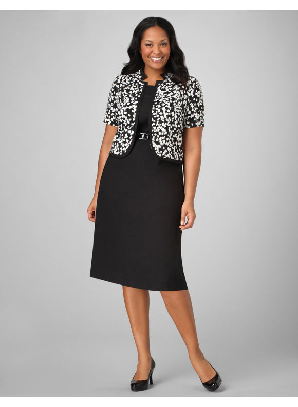 Catherines Women's Plus Size/Black & White Confetti Splash Jacket