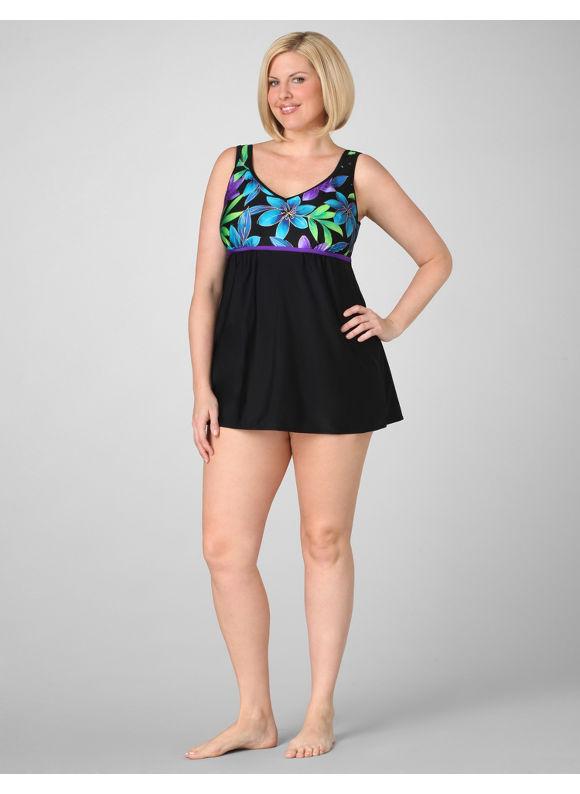 Catherines Women's Plus Size/Purple Night Garden Swimdress - Size 22W