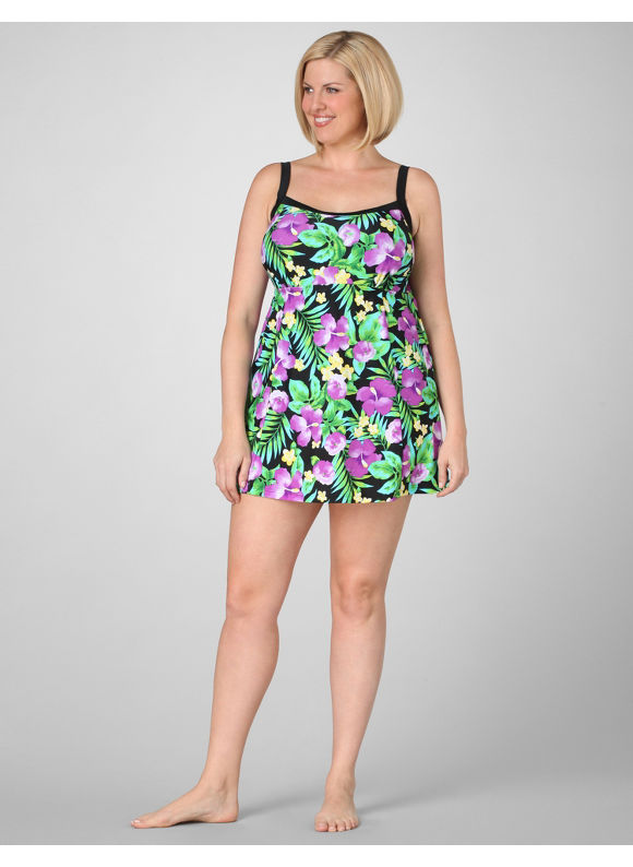 Catherines Women's Plus Size/Calla Green Tropical Hibiscus Swimdress -