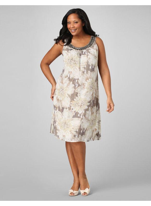 Catherines Women's Plus Size/Tan Affinity Dress - Size 2X