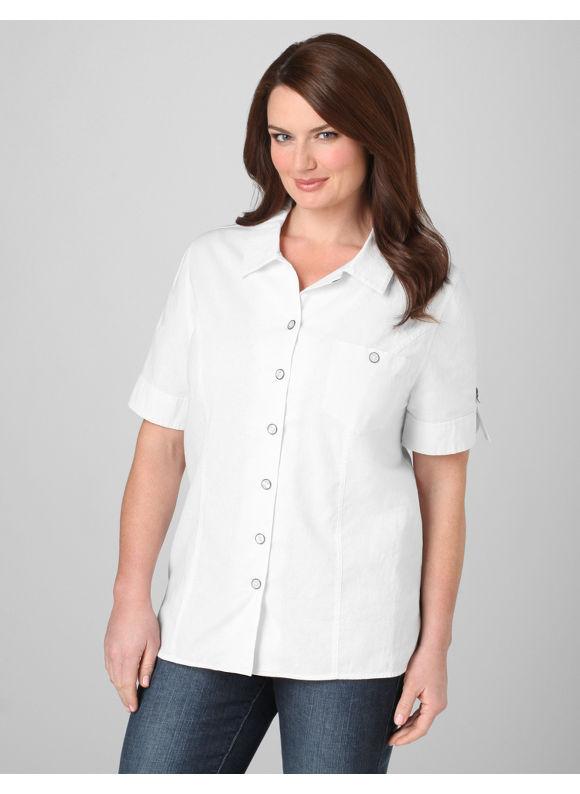 Catherines Women's Plus Size/White Crisp Cotton Blouse - Size 0X