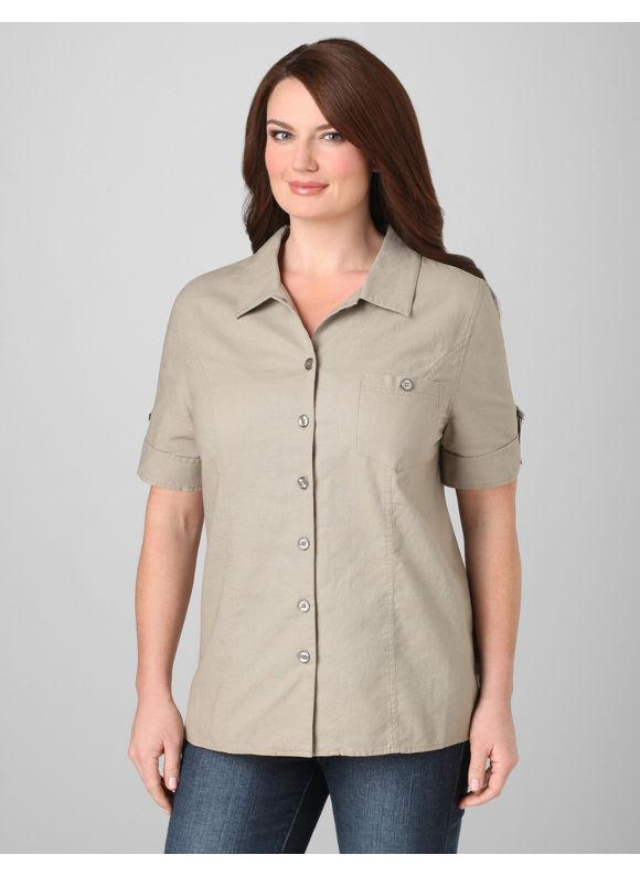 Catherines Women's Plus Size/Pebble Crisp Cotton Blouse - Size 0X