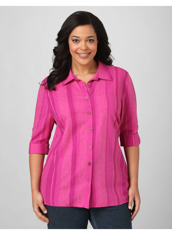 Catherines Women's Plus Size/Purple Tonal Stripes Blouse - Size 1X