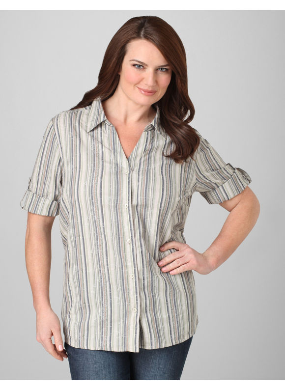 Catherines Women's Plus Size/Pebble Two-Toned Striped Blouse - Size 0X