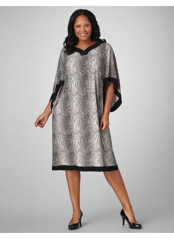 Catherines Women's Plus Size/Natural Framed Snake Print Dress - Size