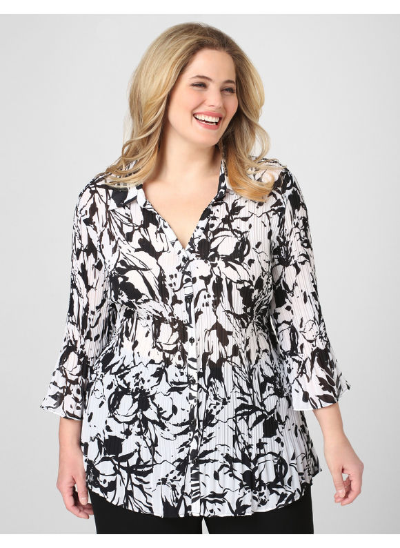 Catherines Women's Plus Size/Black & White Pleated Floral Ink Blouse -