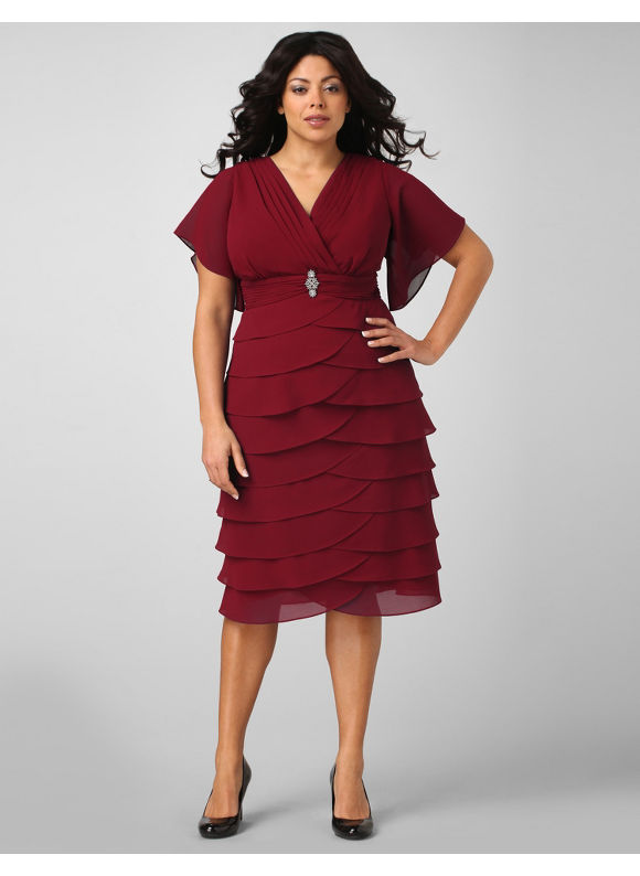 Catherines Women's Plus Size Tiered Brooch Empire Dress - Size 20W,