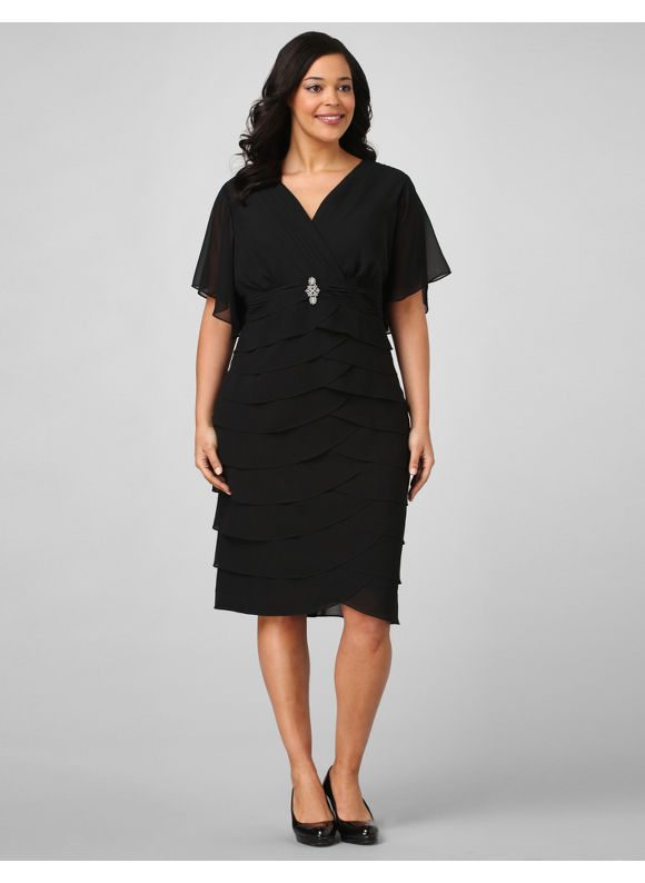 Catherines Women's Plus Size/Black Empire Brooch Dress - Size 24W