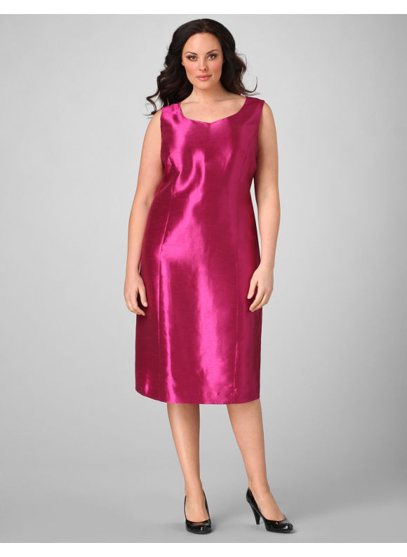 Catherines Women's Plus Size/Bright Fuchsia Shantung Sheath Dress -